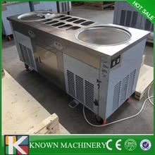 High quality three compressors stainless steel double pan with 10 cooling tanks fried roll ice cream machine 110v/220v