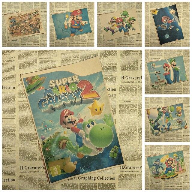 Super Mario Bros Classic Game Kraft Paper Poster Interior Decoration ...