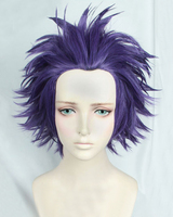 My Hero Academia Boku No Hiro Akademia Shinsou Hitoshi Shinso Short Dark Purple Heat Resistant Cosplay