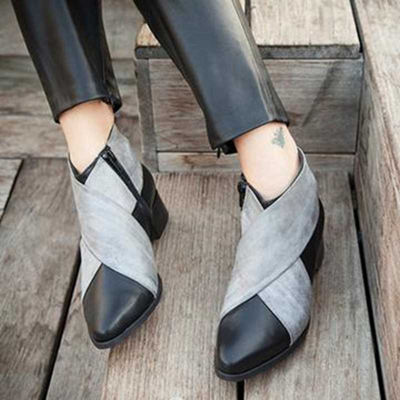 PUIMENTIUA Women Ankle Boots Wedges Platform Spring Female High Heel Increasing Shoes Lady Elastic Band Fashion Casual Footwear