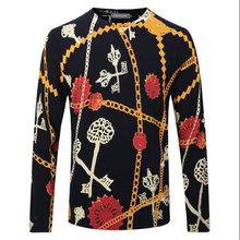 Men Floral Pullover Sweater Spring Autumn Knitted Worsted Woolen Brand Casual Slim Fit Thin Plus Size Cashmere Sweater F1932