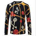Homens Pullover Camisola Floral Primavera Outono Malha de Lã Penteada Marca Casual Slim Fit Plus Size Fina Camisola de Caxemira F1932