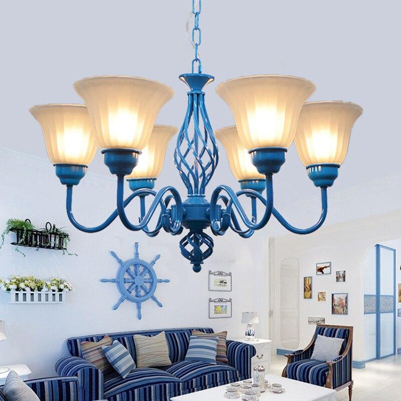 Средиземноморский стиль пастырской люстры, современная столовая спальня лампы Дети люстра выдувного стекла люстры