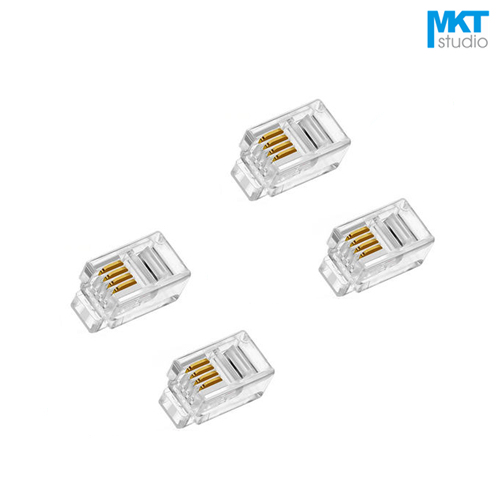 100Pcs 4P4C RJ10 RJ11 RJ12 4 Pins 4 Contacts Telephone Handset Connector Modular Plug Jack 100pcs rj11 4p4c female pcb mount modular plug jack network connector 4p grey
