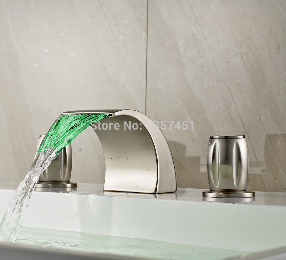 LED Light Waterfall Bathroom Sink Faucet 3 Holes Basin Mixer Tap ...