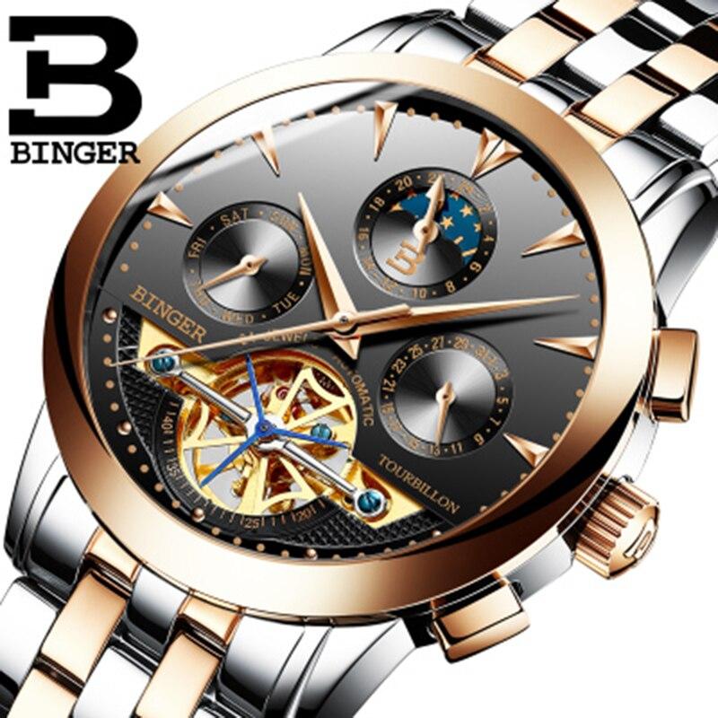 Genuine Swiss BINGER Brand Men full steel automatic mechanical male self-wind double openwork fashion Tourbillon watch đồng hồ binger bg54
