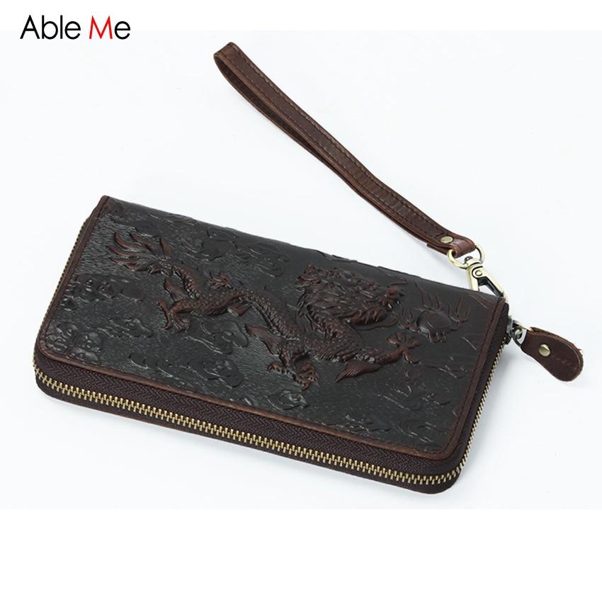AbleMe 2017 Animal Dragon Print Men Purses Crazy Horse Leather Wallet Male Clutch Purses Card Key Holder Zipper Long Wallet Men dragon card 1l