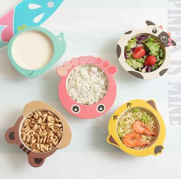 การ์ตูนไม้ไผ่ชุดเด็กให้อาหารชามเด็กทารกแผ่นเป็นมิตรกับสิ่งแวดล้อมเด็กน่ารักเด็กกินอาหารชาม
