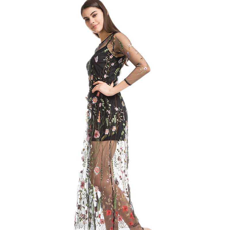 55b22112ca Vadim Real Vestidos Runway 2018 Dress Flower Floral Embroidery Evening  Party Dresses Gorgeous Mesh Bohemian Perspective Long -in Dresses from  Women s ...