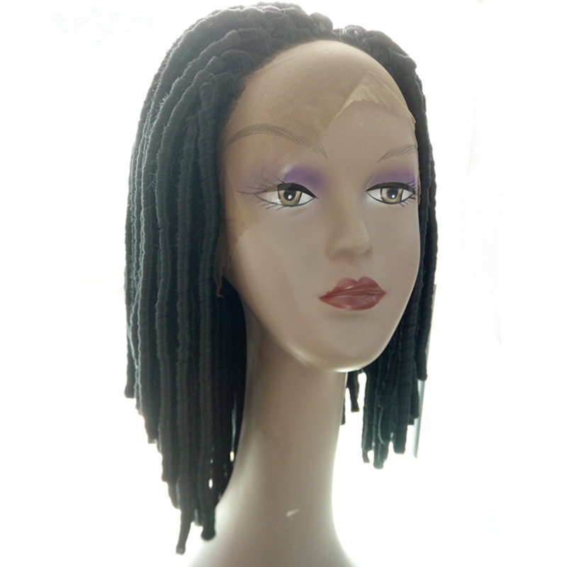 Pervado Hair Synthetic High Temperature Fiber 16inch Black Hand Tied Lace Front Wigs with Soft Dread