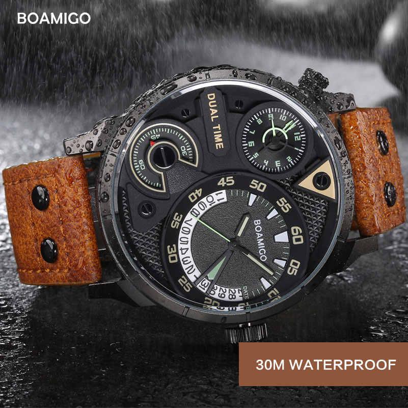 Relojes para hombre de moda de deporte de los hombres de cuarzo reloj boamigo marca doble fecha y hora relojes correa de cuero resistente al agua reloj masculino