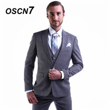 OSCN7 2019 Plaid Custom Made Suits Men Slim Fit Wedding Party Mens Tailor Made Suit Fashion 3 Piece ZM-249 Custom Design(China)