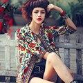 [Xpy] areabelle moda mujeres de la chaqueta de otoño y el verano de ropa de abrigo vintage mujeres impresión floral étnico bordado chaqueta corta