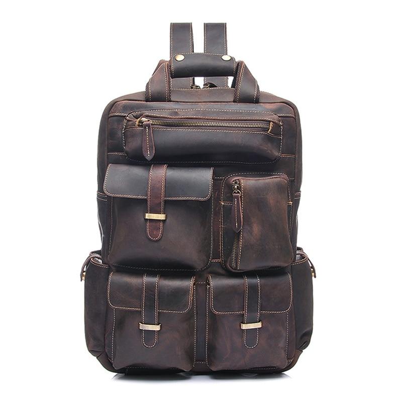 Marque Designer en cuir véritable hommes sac à dos Vintage Crazy Horse cuir hommes sacs à dos de haute qualité sac d'affaires bolsa masculina