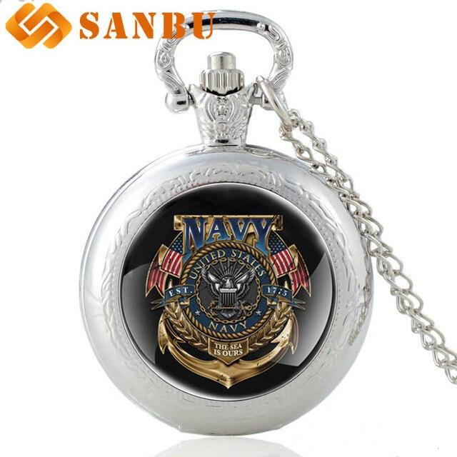 Vintage Stati Uniti Navy Argento Orologio Da Tasca Del Quarzo Retro Donne Degli