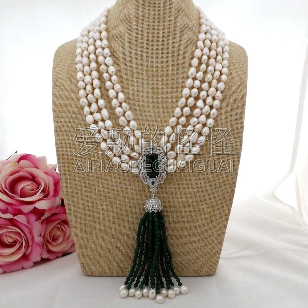 N093006 20 5Strands White Baroque Pearl Green Stone Necklace CZ Pendant 20 23 7 strands green stone necklace cz pendant