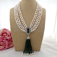 N093006 20 5Strands White Baroque Pearl Green Stone Necklace CZ Pendant