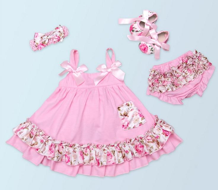 Kualitas tinggi Balita Posh Petti Renda Ruffle Pof Celana + Busur Sling tutu Dress + Headband + Sepatu Bayi perempuan Pakaian Katun set