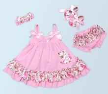 High Quality Toddler Posh Petti Lace Ruffle Bloomers Panties+Bow Sling tutu Dress+Headband+Shoes Baby Girl Cotton Clothing sets