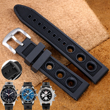 TJP Silicone Rubber Waterproof Watch Strap 22mm 24mm Black Watchbands Bracelet For navitimer/avenger/Breitling Wristband