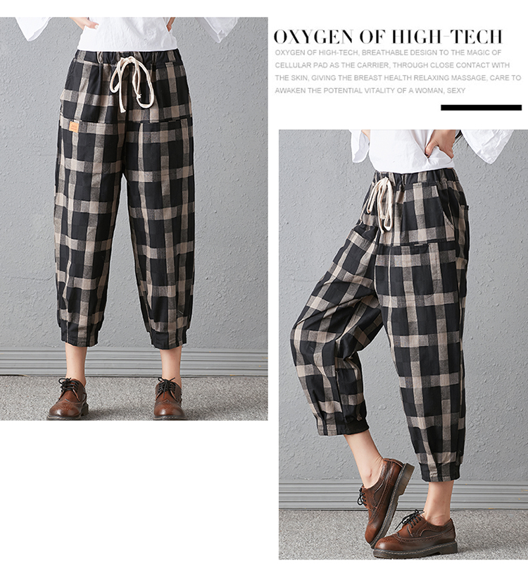 New 2018 Spring And Autumn Artistic Vintage Trousers Women Harlan Pants Woman Pants Loose Linen Pants For Women Plus Size Women 8