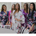 Short Style Woman Peacock Printed Silk Kimono Robes ,Wedding Party Bridesmaid Robe