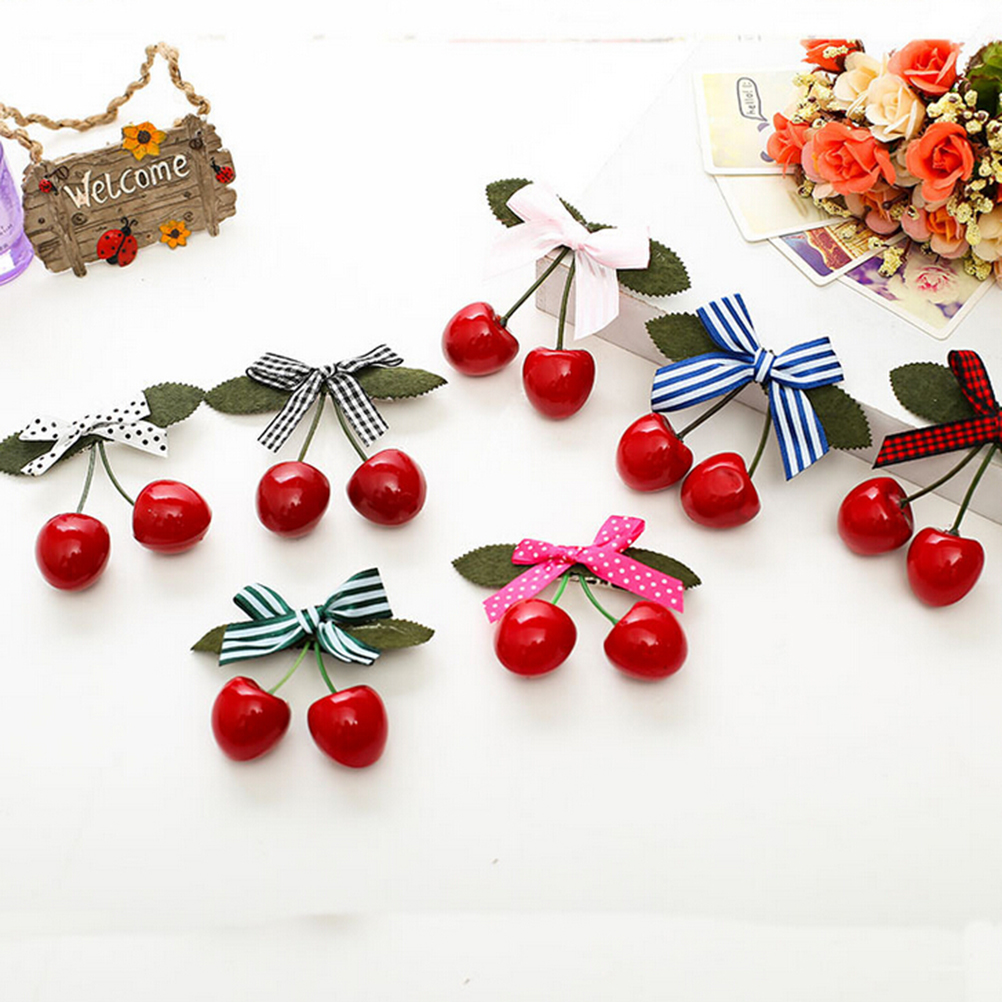 HOT New 1PC Red Cherry Bow Hair Clip For Pinup Girls Retro Vintage Rockabilly Hair Band Hair Accessory
