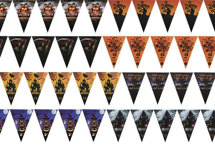 10Flags 2.5m Handmade Halloween  Fabric Bunting Pennant Flags Banner Garland Home Party DIY Decoration Cartoon Hat