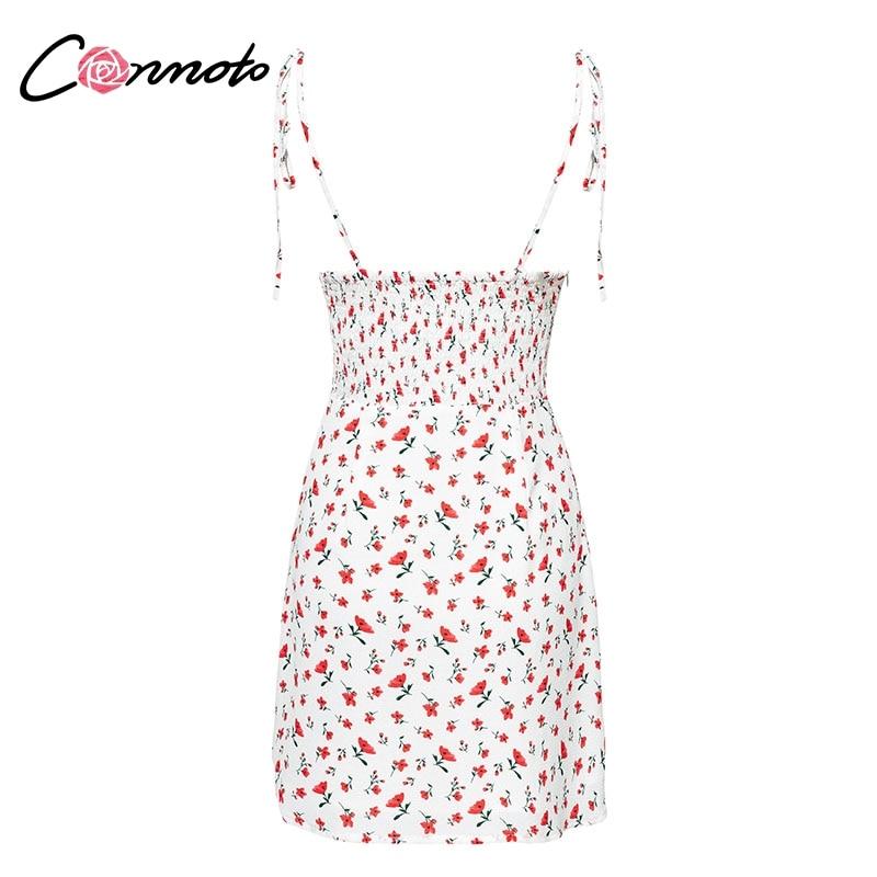 Conmoto Casual Floral Print Short Dress Women 19 Summer Holiday Sexy Beach Chiffon Dress Dress Femme Lace Up Dress Vestidos 15
