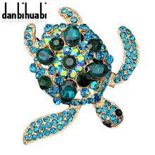 danbihuabi New Fashion High-Grade Cute Animal Green Turtle Crystal Rhinestone Brooch Tortoise Jewelry for Party