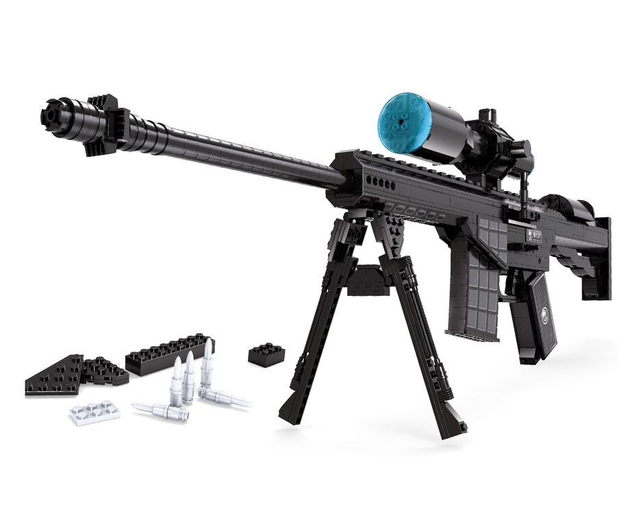 M107 Sniper Assault Rifle GUN Weapon Arm Model 1:1 3D 527pcs Model Brick Gun Building Block Set Toy Gift For Children