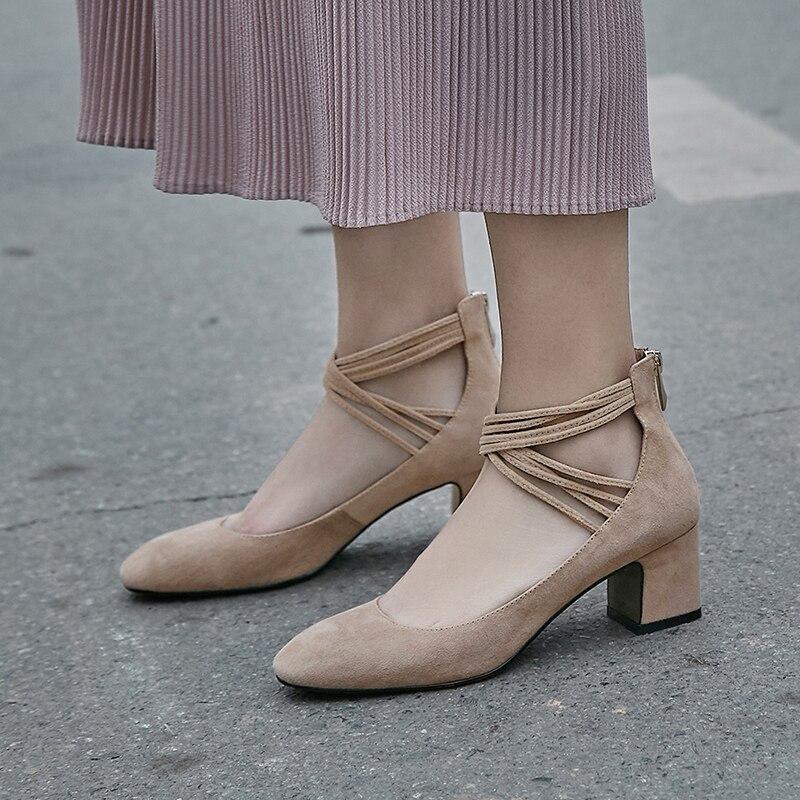 1001 Pompes Chunky De Femmes Chaussures Cuir D'été Cm 2018 Hauts Emballage Véritable 9 Partie Black À Robe Talons Boîte Mode apricot xw05I