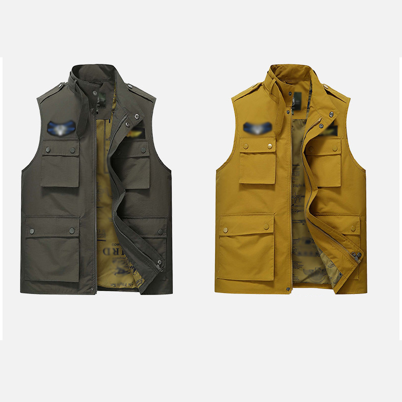 Men multi-pocket vest outdoor photography fishing reporter battlefield youth tide 3 colors,stand collar,fashion leisure vest cредства для ухода за автомобилем
