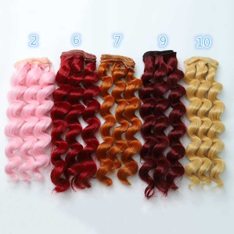 Dolls & Stuffed Toys Bjd Doll Hair Pie1 Pcs Thick 25cm*100cm Wigs Bjd Ye Luoli Sd Diy Doll Wigs High-temperature Wire Fiber Hair Curly Wave Hair Wigs Skilful Manufacture
