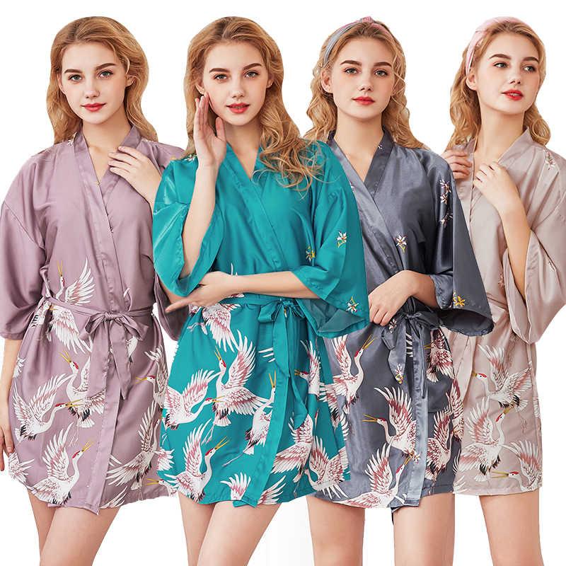 Norns Phụ Nữ Mới In Áo Choàng Đêm Nữ Nữ Tay Nhiều Bộ Đồ Ngủ Áo Choàng Tắm Nữ ĐầM Áo Dây Quần Áo Ngủ Lụa Hoa Váy Ngủ