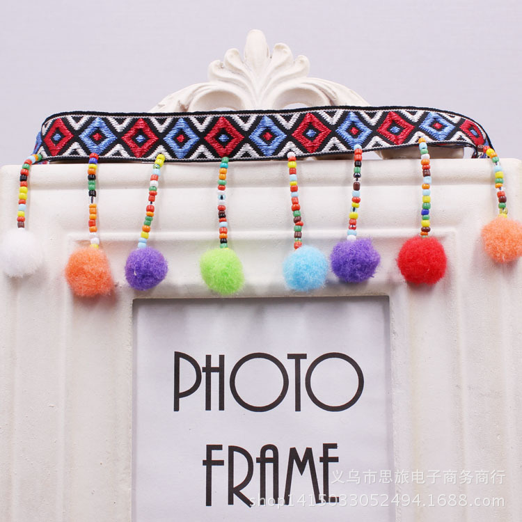 FFLACELL 1 Yard Beaded Pom Poms Tassel Lace Fabric Decorative Fringe ...