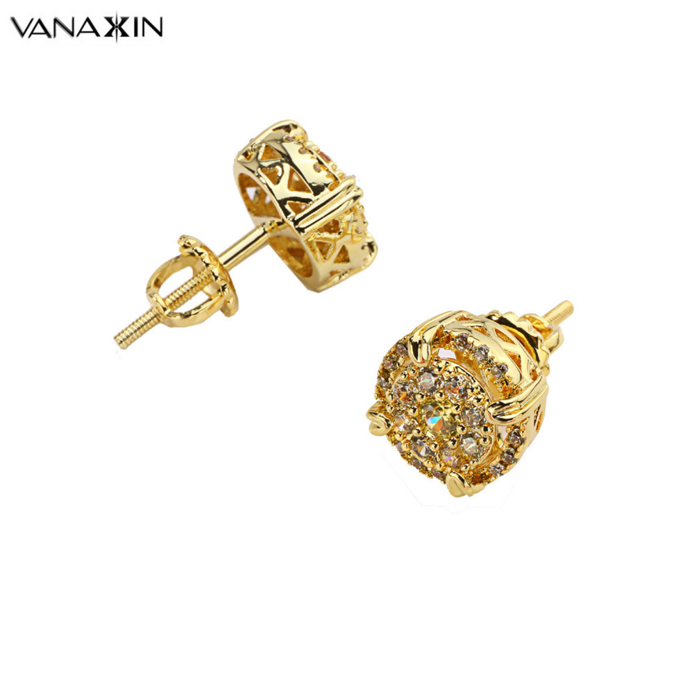 VANAXIN Charms Fashion Jewelry AAA CZ Stones Bling Bling Stud Earrings Gold Rhodium Black Gun Plated Accessories For Women/ Men