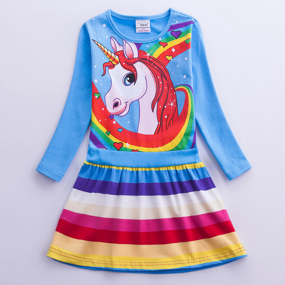 Girls Long Sleeve Unicorn Dress 2019 Spring Autumn Dress Cotton Casual A Word Rainbow Striped Dress Kids Dress LH6219 in Dresses from Mother Kids
