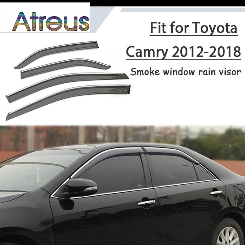 купить Atreus 1set ABS For 2018 2017 2016 2015 2014-2012 Toyota Camry Accessories Car Vent Sun Deflectors Guard Smoke Window Rain Visor по цене 5232.41 рублей