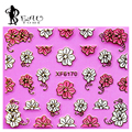 Beautome 1X 3D Oro Metálico Pegatinas de Uñas Envuelve HS6159 Lucky Rose Flores Nail Art Calcomanías de Agua Al Por Menor