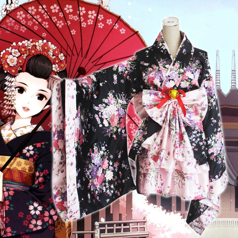 Heavy cherry blossoms sakura Janpanese kimono cosplay costumes for women vestido princess lolita dress Maid service onesie