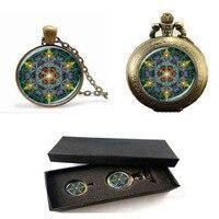 Multicolor Flower of life pendant necklace đồng hồ bỏ túi với hộp miễn phí glass dome om mandala yoga jewlery phật giáo quà tặng