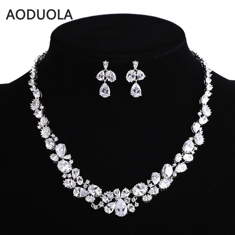 Sliver Plated Drop CZ Necklace And Earring Set Wedding Bridal Dress Accessories Jewelry Sets For Women Crystal Party Set be8 luxury red water drop pendant jewelry set for women 5 colors bohemia necklace earring sets bridal dress accessories s 024
