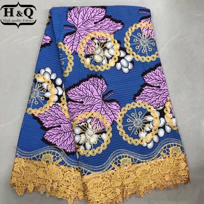H Q African wax lace fabric 100 cotton dutch print fabrics with cord lace 6 yards