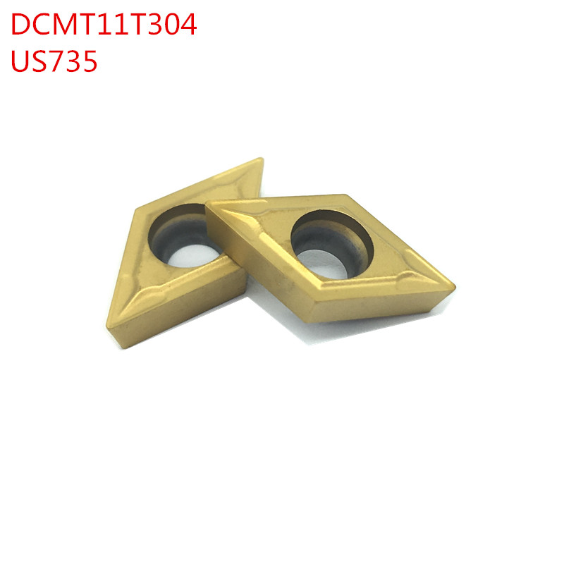 10PCS DCMT11T304 DCMT32.51 US735  External Turning Tools Carbide insert Lathe cutter Tool Tokarnyy turning insert (China)