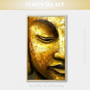 Professional Artist Hand-painted Modern Wall Art Golden Buddha Half Face Oil Painting on Canvas Buddha Figure Acrylic Painting