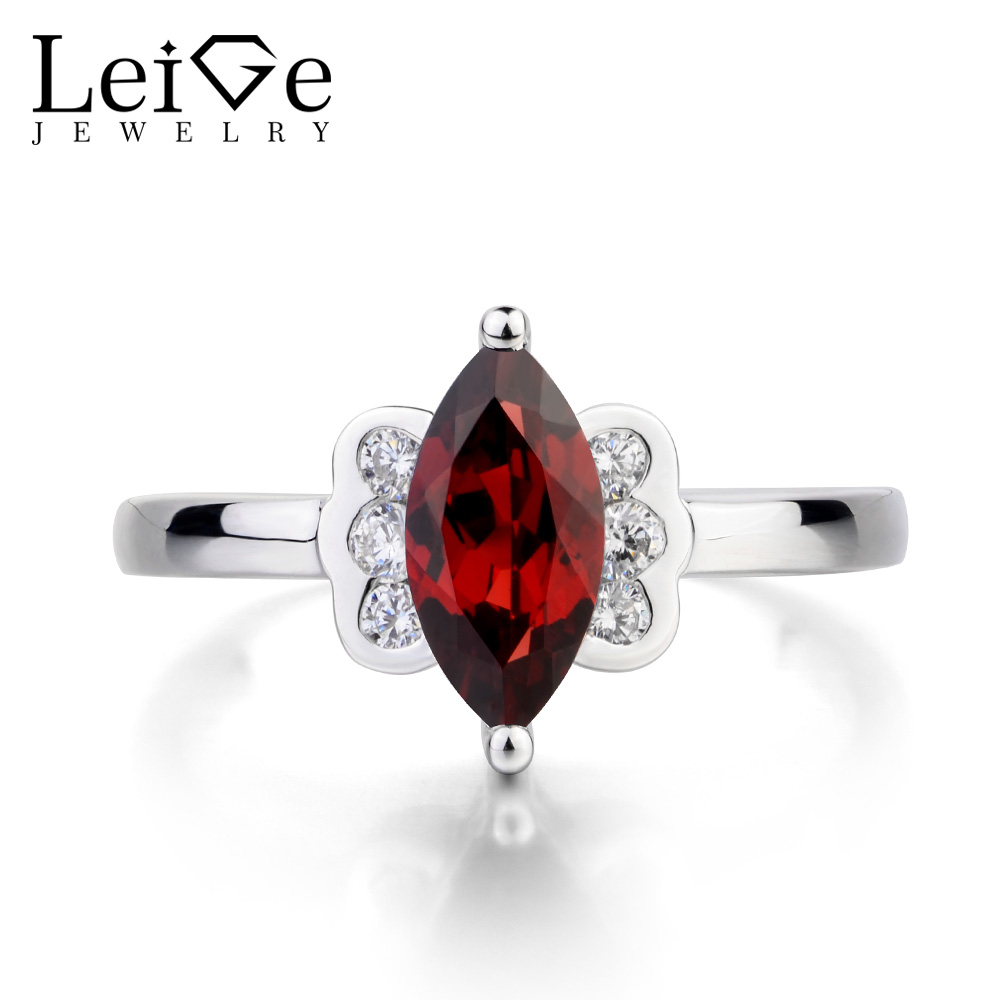 Leige Jewelry Natural Red Garnet Ring Garnet Engagement Ring Marquise Cut Red Gemstone 925 Sterling Silver January BirthstoneLeige Jewelry Natural Red Garnet Ring Garnet Engagement Ring Marquise Cut Red Gemstone 925 Sterling Silver January Birthstone