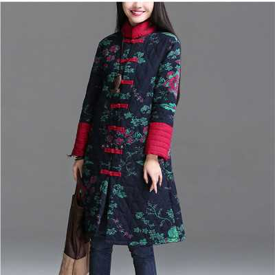ФОТО Vintage Featured Chinese Clothing Ethnic Print Pattern Long Robe Coat Women Thick Winter Outwear Cotton Padded Overcoat A3773
