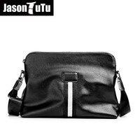 JASON TUTU Brand design Shoulder bags British style small messenger bag men leather Black Crossbody bag Black free shipping B622