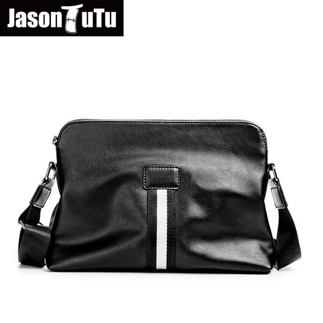e53d49f1589 JASON TUTU Brand design schoudertassen Britse stijl kleine messenger bag  mannen lederen Zwarte Crossbody tas Zwart